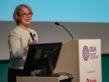 Susan Elston, SVP Offshore & Marine UK & Ireland speaking at the 2019 Oil & Gas UK Annual Conference