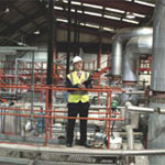 Man in industrial setting